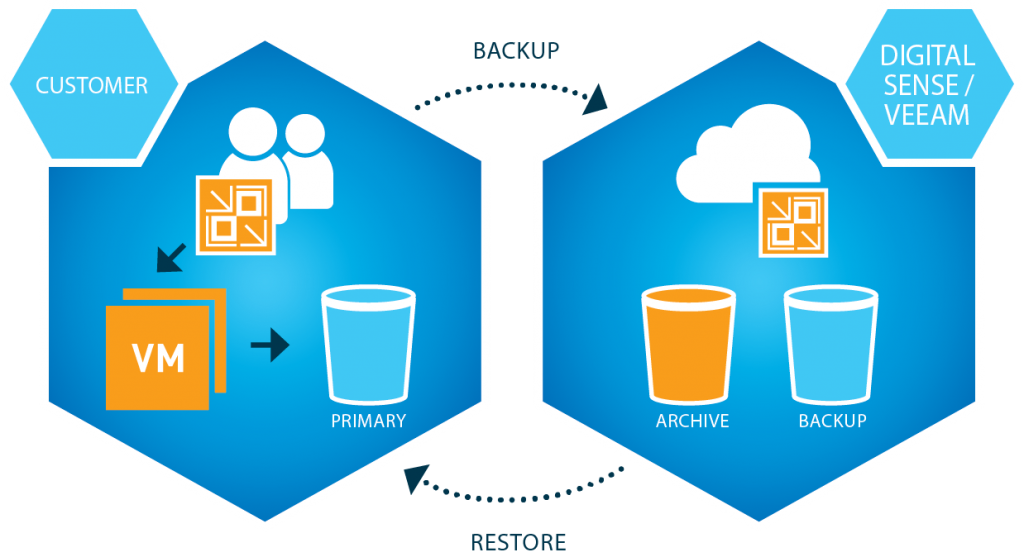 Digital Sense / Veeam Backup and Recovery Service Diagram